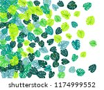 green tropical jungle leaves... | Shutterstock .eps vector #1174999552