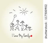 happy family hand drawn vector... | Shutterstock .eps vector #117500902