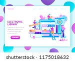 electronic library flat vector... | Shutterstock .eps vector #1175018632