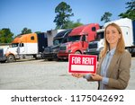 saleswoman with truck for... | Shutterstock . vector #1175042692