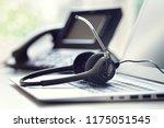 voip headset headphones... | Shutterstock . vector #1175051545