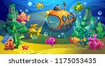 yellow submarine underwater.... | Shutterstock .eps vector #1175053435
