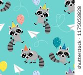 cute raccoon with balloons and... | Shutterstock .eps vector #1175053828