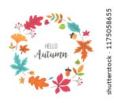 autumn background with fall... | Shutterstock .eps vector #1175058655
