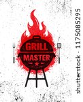 grill master meat on fire... | Shutterstock .eps vector #1175085295