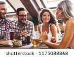 happy friends having fun at bar ... | Shutterstock . vector #1175088868