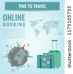 travel composition with famous... | Shutterstock .eps vector #1175105755