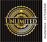 unlimited golden badge or emblem | Shutterstock .eps vector #1175106568