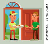 pizza delivery man bring food... | Shutterstock .eps vector #1175109355