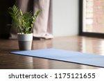 yoga mat on the floor  blue... | Shutterstock . vector #1175121655