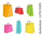 set of flat colorful shopping... | Shutterstock .eps vector #1175174395