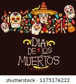 dia de los muertos greeting... | Shutterstock .eps vector #1175176222