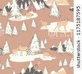 christmas deers and tree winter ... | Shutterstock .eps vector #1175187595
