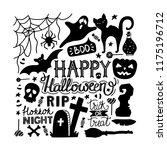 hand drawn halloween doodles... | Shutterstock .eps vector #1175196712