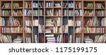 wide book shelves with blurry...   Shutterstock . vector #1175199175