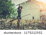halloween witch holding witch... | Shutterstock . vector #1175212552