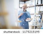 serious and pensive mature man... | Shutterstock . vector #1175215195