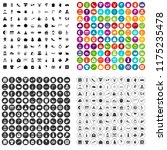 100 festive day icons set in 4... | Shutterstock . vector #1175235478