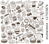 coffee and sweets   doodles... | Shutterstock .eps vector #117523876
