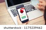 online shopping concept.hands... | Shutterstock . vector #1175239462