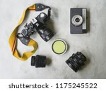 flat lay of retro analog photo... | Shutterstock . vector #1175245522