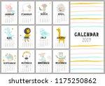 monthly creative calendar 2019... | Shutterstock .eps vector #1175250862