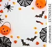 halloween frame of scattered... | Shutterstock . vector #1175263162