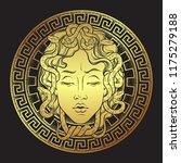 medusa gorgon golden head on a... | Shutterstock .eps vector #1175279188