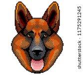 pixel sheepdog face portrait... | Shutterstock .eps vector #1175291245