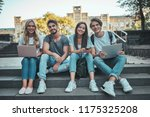 group of young people are... | Shutterstock . vector #1175325208