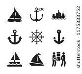 sailing icon. 9 sailing vector... | Shutterstock .eps vector #1175333752