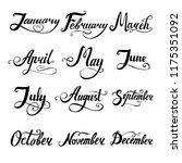 12 months hand written... | Shutterstock .eps vector #1175351092