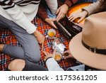 crop from above view of group... | Shutterstock . vector #1175361205