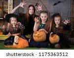 mom and children preparing for... | Shutterstock . vector #1175363512