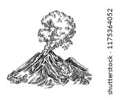 eruption volcano. sketch.... | Shutterstock .eps vector #1175364052