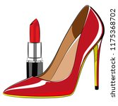 red lipstick and red high... | Shutterstock .eps vector #1175368702