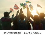crowd of people rising up... | Shutterstock . vector #1175372032