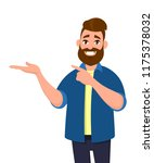 young man pointing away hands... | Shutterstock .eps vector #1175378032