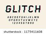 glitch distorted font retro... | Shutterstock .eps vector #1175411608