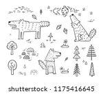 cute wolf vector set. hand... | Shutterstock .eps vector #1175416645