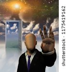faceless man in suit seems to... | Shutterstock . vector #1175419162