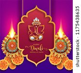 happy diwali festival card with ... | Shutterstock .eps vector #1175438635