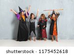 happy group of friends with... | Shutterstock . vector #1175452618