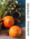 cozy autumn morning with cup of ... | Shutterstock . vector #1175469388
