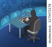 hacker activity concept. hacker ... | Shutterstock .eps vector #1175472178