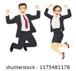 happy business man and woman... | Shutterstock .eps vector #1175481178
