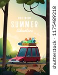 summer landscape. travelling by ... | Shutterstock .eps vector #1175489218