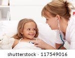 Little girl recovering - checked by friendly health professional with stethoscope - stock photo