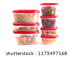 boxes with red lids filled with ... | Shutterstock . vector #1175497168