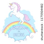 a white unicorn with a pink... | Shutterstock .eps vector #1175504482